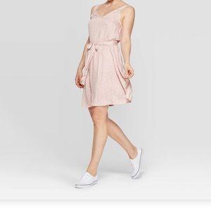 A New Day Polka Dot Sleeveless V Neck Pink Dress